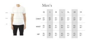 Mens Size Chart, Rebuild Tshirt